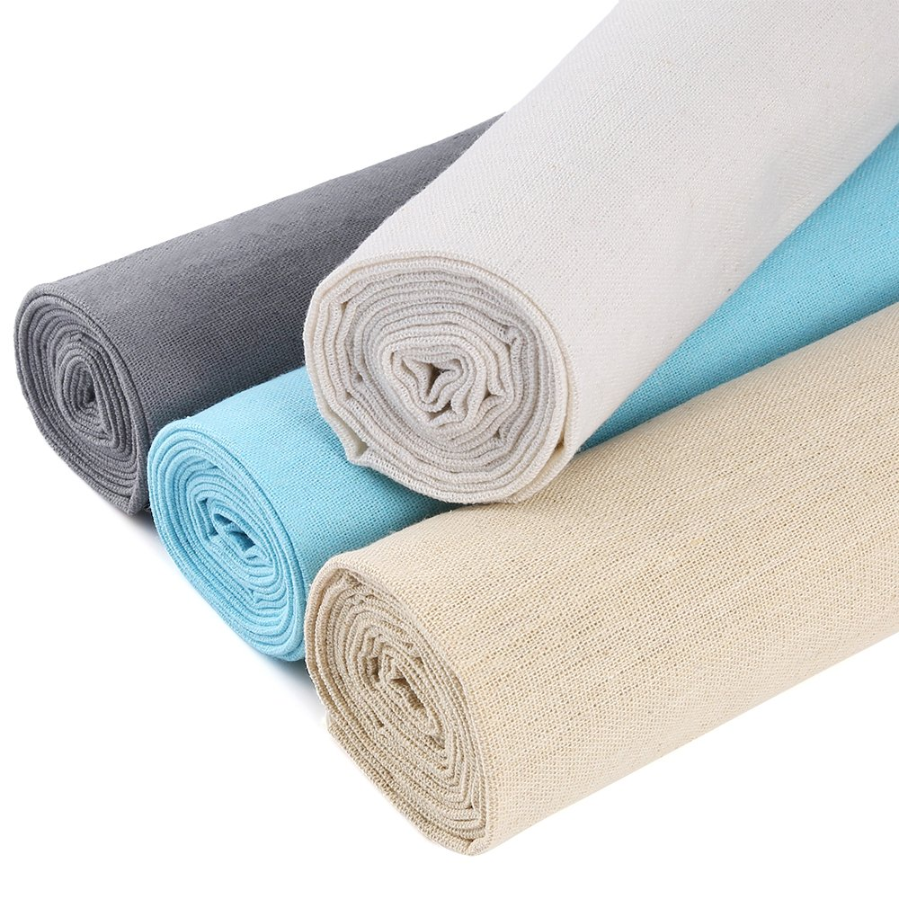 Caydo Linen Needlework Fabric, 4 Colors for Garment Craft, Flower Pot Decoration and Tablecloth, 62 by 19 Inch (White and Creamy), 58 by 19 Inch (Blue and Gray)