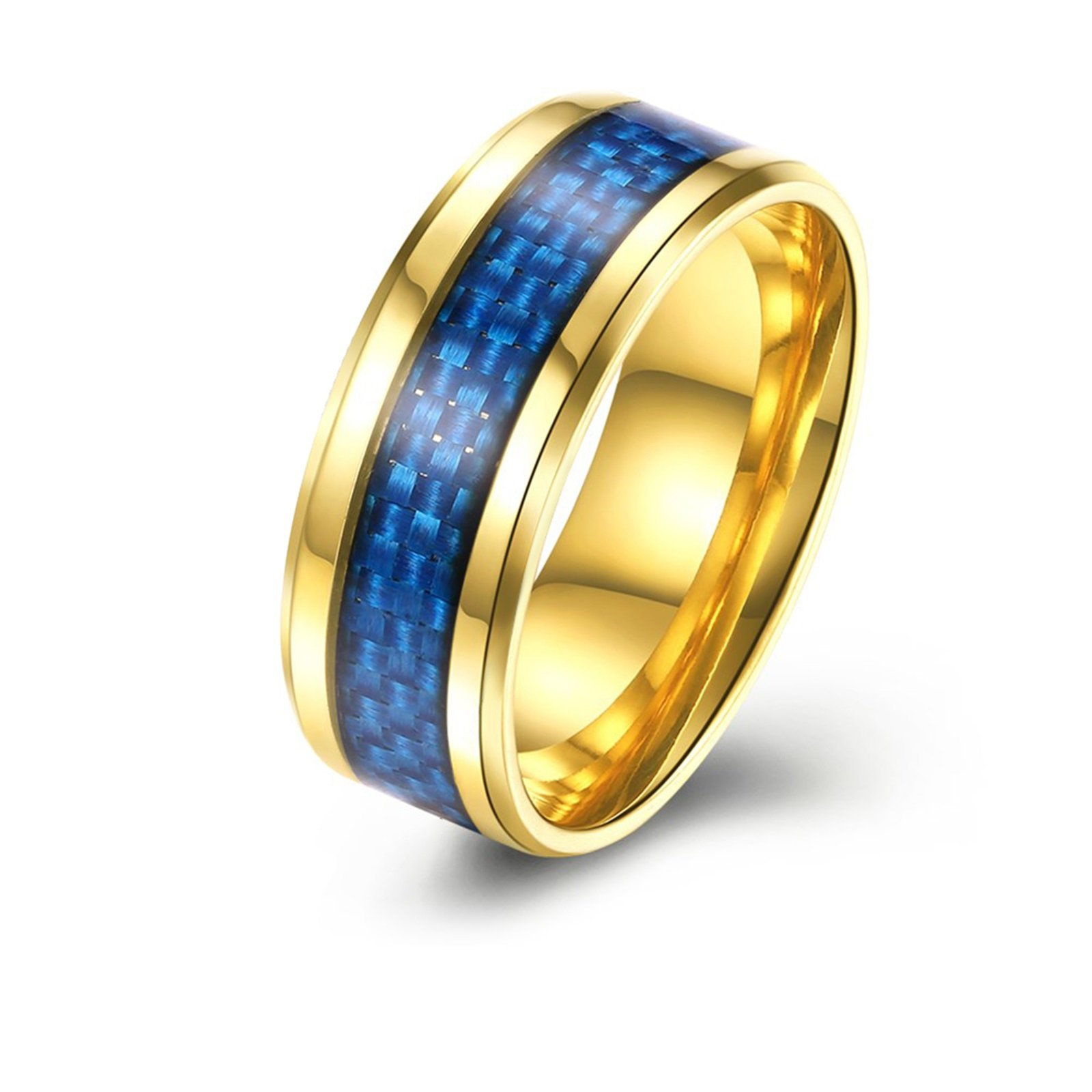 Epinki Stainless Steel Wedding Rings for Men Blue Carbon Fiber Inlaid 8MM Gold Ring Size 9 Men Accessories