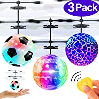 3 Pack Flying Ball Toys for Kids Birthday Gifts Age 6-14 Year Kids RC Flying Toys Hand Operated Rechargeable Infrared Induction Helicopter Light Up Toys with Remote Controller for Outdoor Sports Games