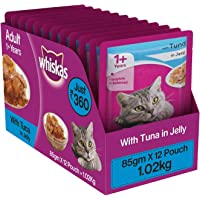 Whiskas Wet Meal Adult Cat Food, Tuna in Jelly, 85g (Pack of 12)