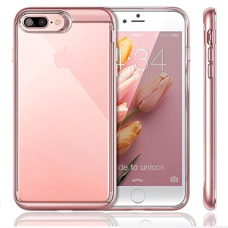 iVAPO iPhone 7 Plus Funda Transparente Carcasa Silicona iPhone 7 Plus Case TPU + PC (Rosa)
