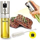 Tiiante Ölsprüher Oil Sprayer Öl Sprüher Glas Flasche Essig Spender Küche Werkzeug Zerstäuber für Kochen, Salat, BBQ, Pasta, Grill, Gewürz 100ml mit Bürsten