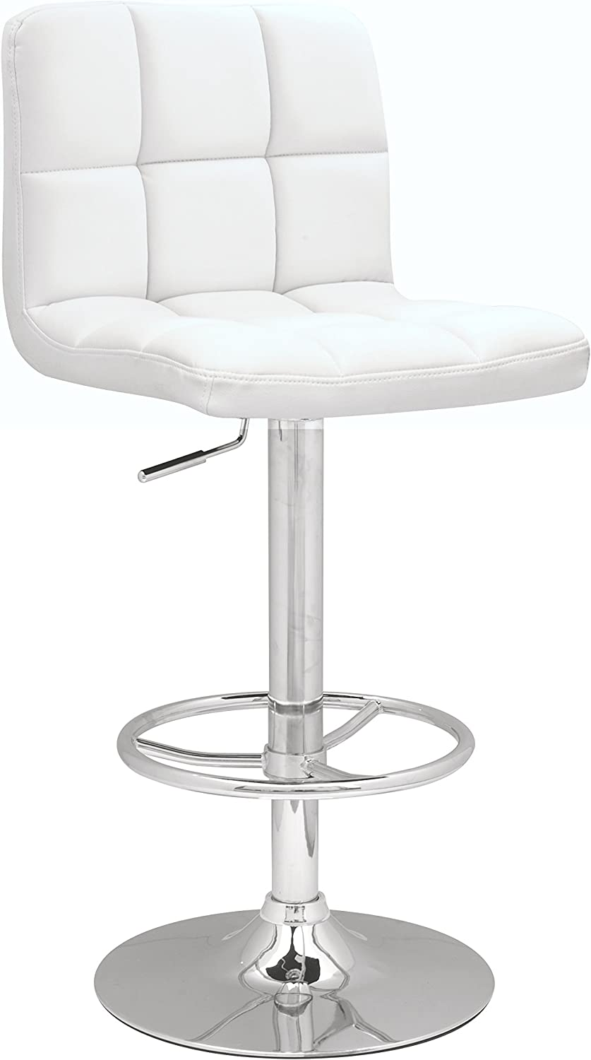 Chintaly Imports Stitched Seat and Back Pneumatic Gas Lift Adjustable Height Swivel Stool, Chrome White PU