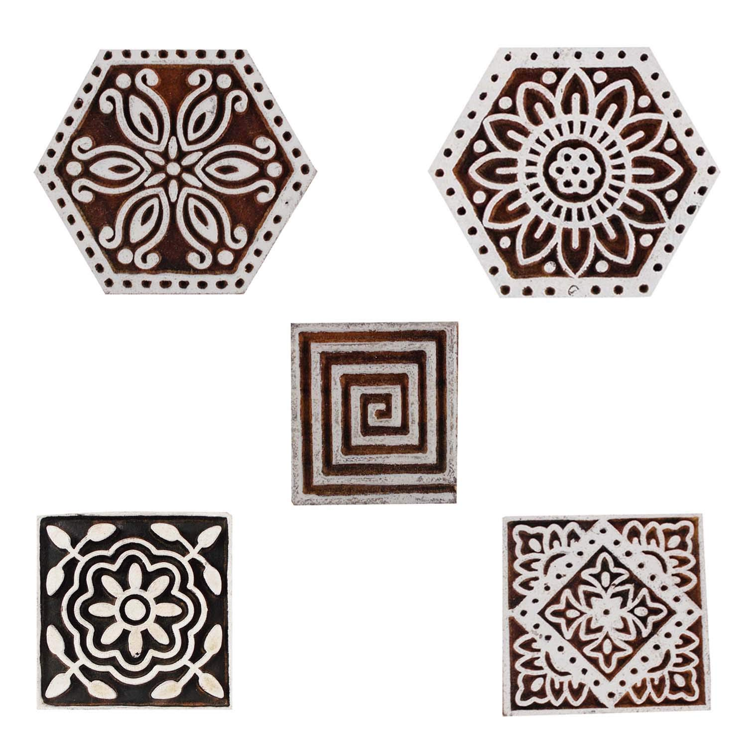 Printing Block Wooden Decorative Hexagon and Square Textile Clay Craft Henna Tattoo Scrapbook Stamps Set of 5 by CraftyArt