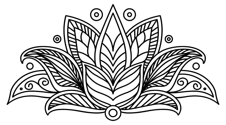 Wandtattoo Orient Wandsticker Blüte in schwarz und weiß mit Ornamenten oriental