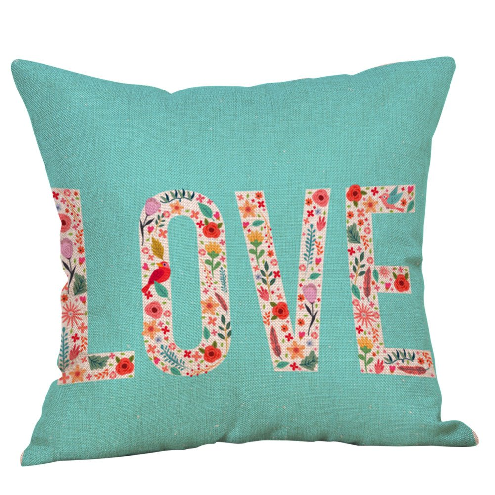 Rosiest Printing Love Flax Pillow Case Gift for Valentine's Day Happy Valentine's Day Throw Pillow Case Sweet Love Square Cushion Cover