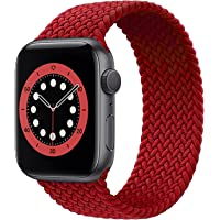 Braided Solo Loop Watch Band Compatible for Apple Watch Series 1/2/3/4/5/6/7/SE with 44mm 42mm Elastic Nylon Straps…