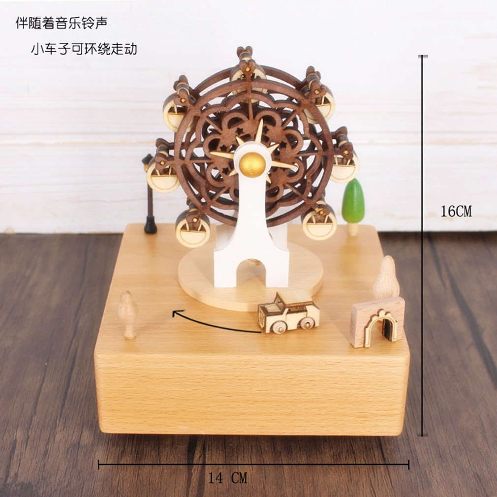 Celsy Wind Up Musical Box Smart Wood Music Box as Birthday Gift and Christmas Gift for Lover Friends and Children (Ferris Wheel) by Celsy (Image #2)