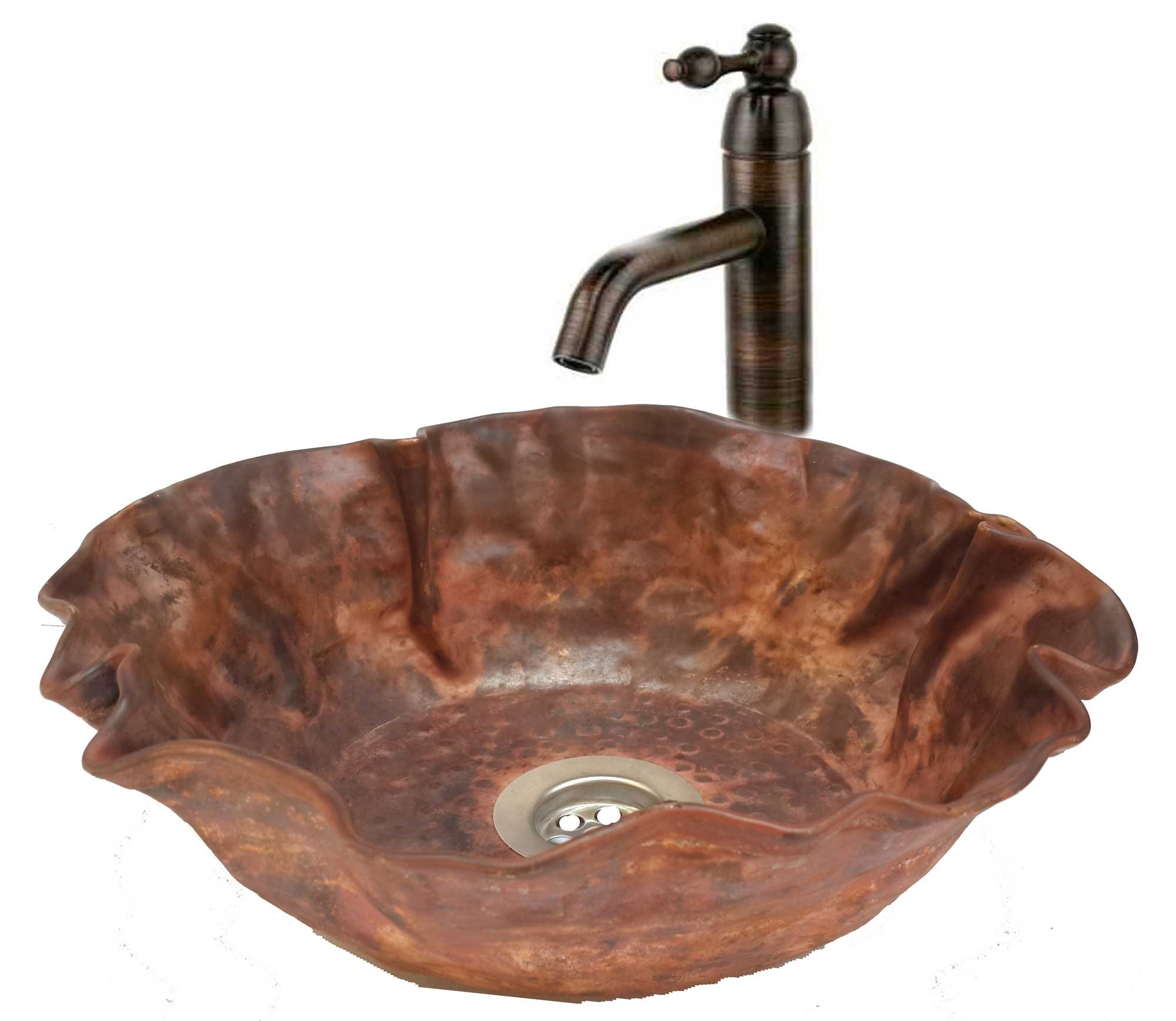 Egypt gift shops 16'' Red Copper Vessel Bathroom Fire Flame Burnt Natural Lavatory Sink Bowl Woman Toilet Hand Wash