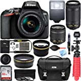 Nikon D3500 DSLR Camera w/AF-P DX 18-55mm VR and 70-300mm Double Zoom Lens Bundle with Travel Case, Wide Angle Lens, Telephoto Lens, Filter Sets, 32GB Memory Card and Accessories (11 Items)