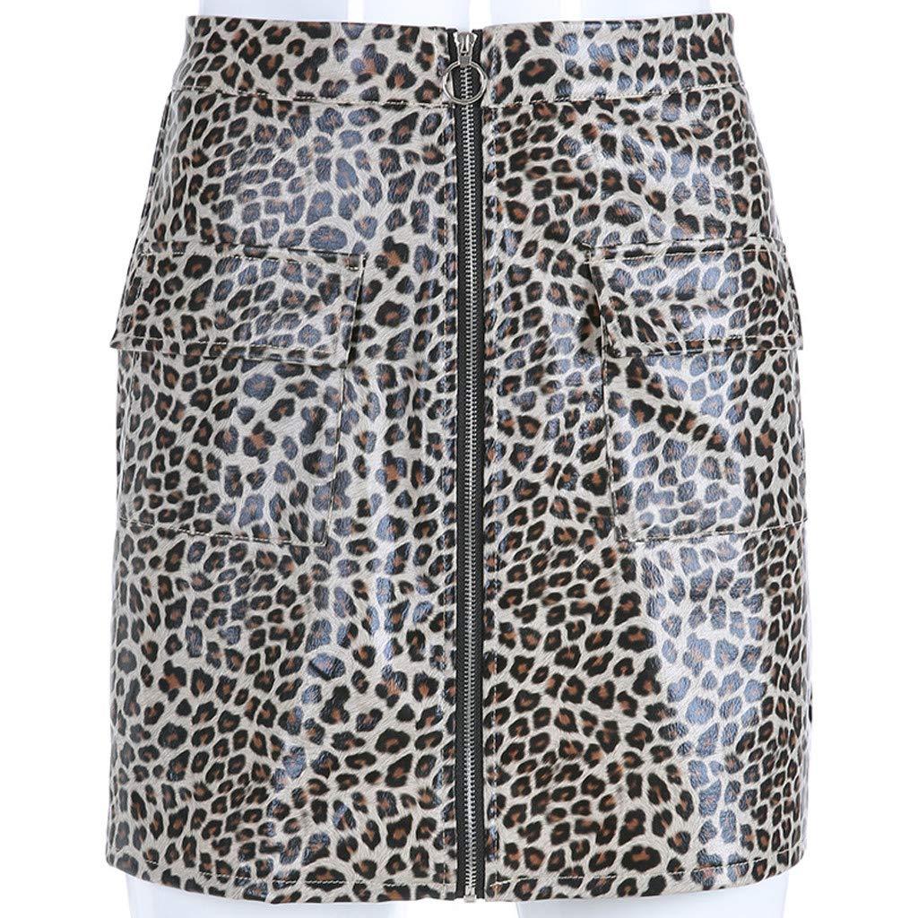 official photos da40d 9c769 kinlene Mode Frauen Sexy Leopard Print Reißverschluss Leder ...