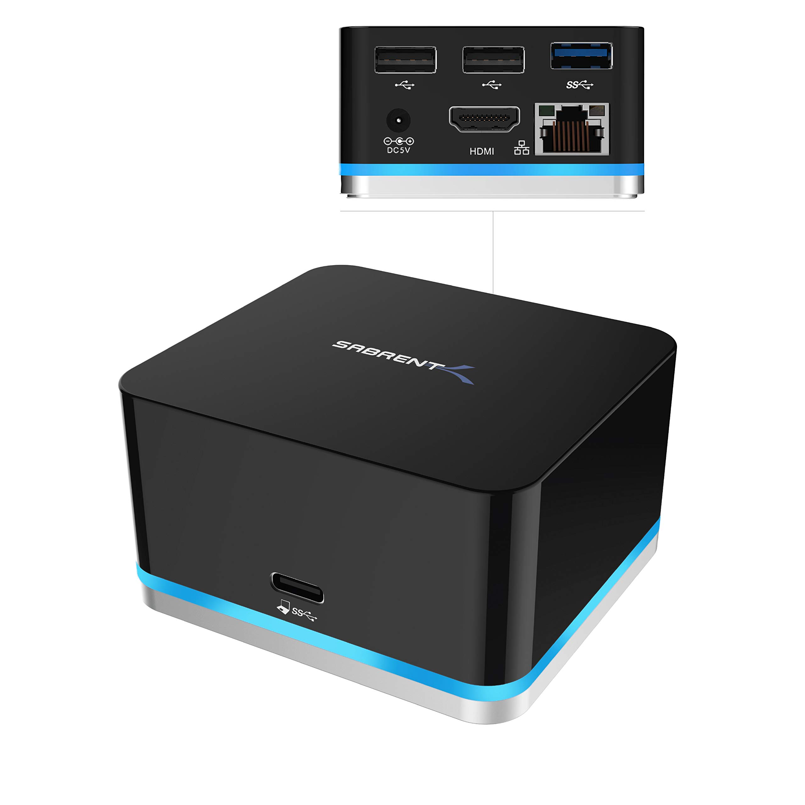 Sabrent 5 Port USB Type C Mini Continuum Docking Station, Supports Up To 3840x2160 at 30HZ (DS-CMND)