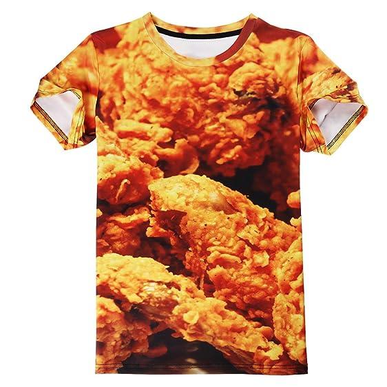 T Shirt Men Hip Hop New Short Sleeve Summer Tops Tees Casual Brand Clothing 3D Food