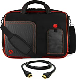 "Red Laptop Bag, HDMI Cable for Dell Latitude, Inspiron, Precision, XPS, Alienware, Vostro, G3 G5 G7 14"" to 15.6 inch"