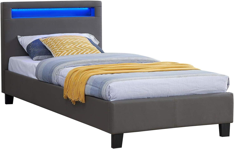 IDIMEX Cama Individual para Adultos o niños Luceno Cama 90 x 190 cm con somier Individual para 1 Persona, cabecero con LED Integrados, Revestimiento ...