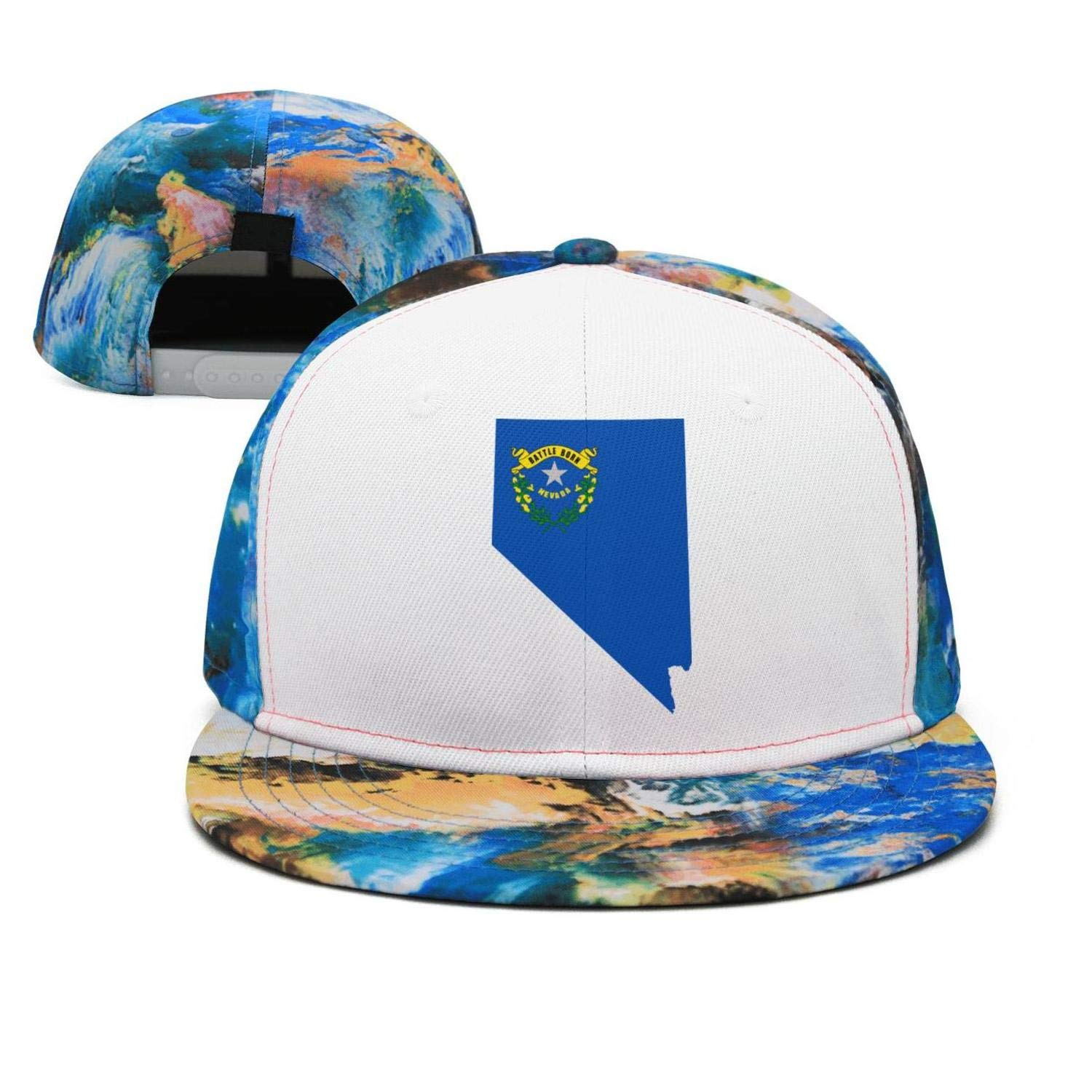 CHANO Flag and Map of Nevada Unisex Snapback Hat for Mens Womens Mesh Snapback