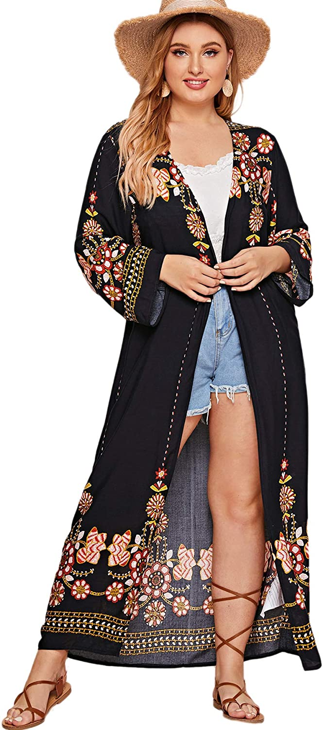 Romwe Womens Plus Size Floral Print Sheer Beach Swimsuit Cover up Long Kimono