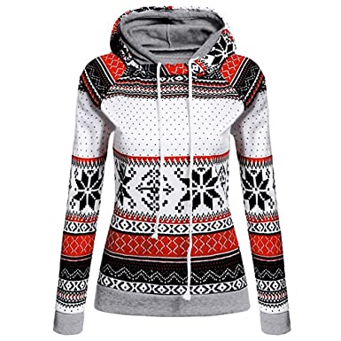 b246d357 AmyDong Women Tops, Womens Christmas Printed Hoodies Sweatshirt Xmas Ladies  Tops Jumper Pullover Red