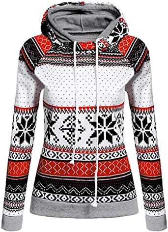 Gallity Womens Christmas Xmas Printed Hoodies Sweatshirt Tops Shirt Jumper Pullover