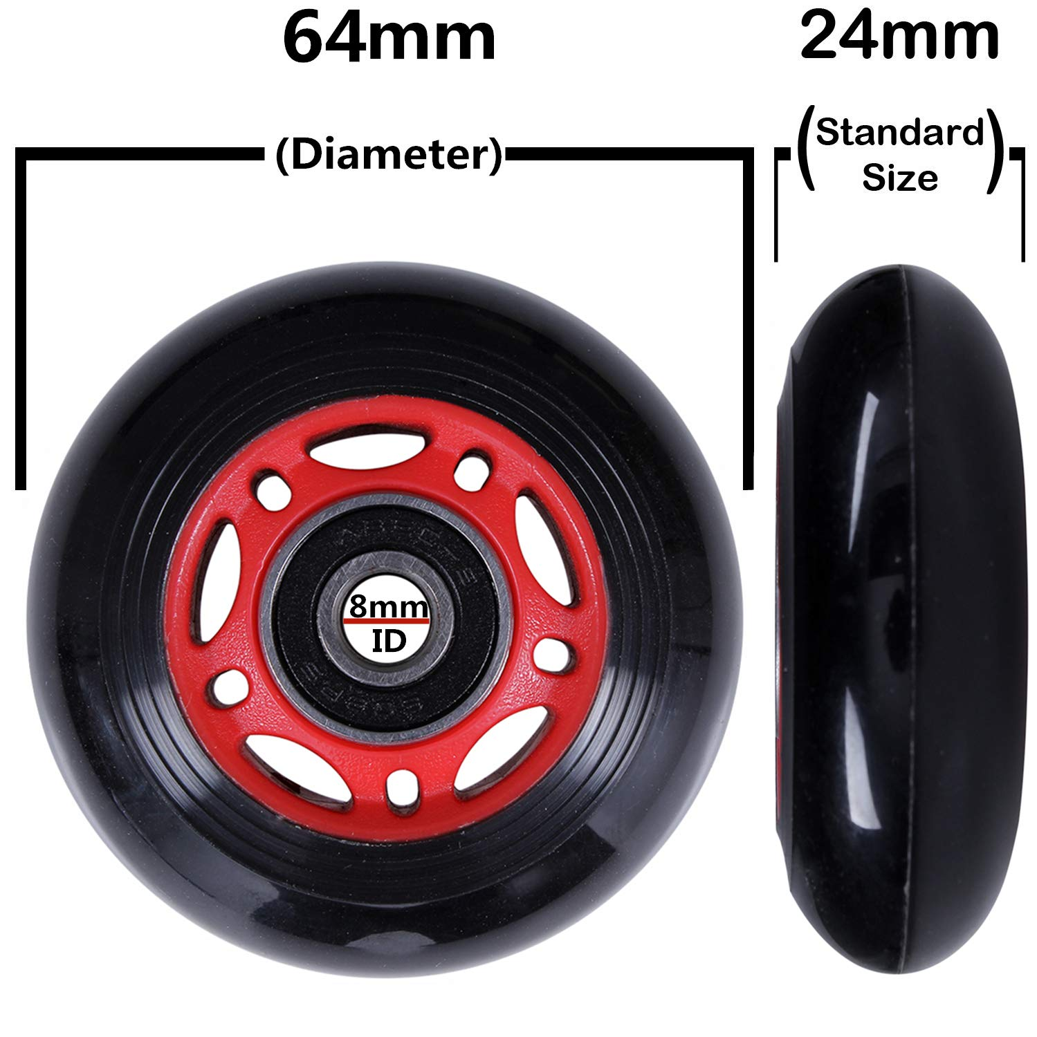 AOWISH 8-Pack Inline Skate Wheels 85A Rollerblade Replacement Wheel with Bearings ABEC-9