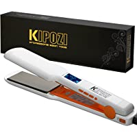 "KIPOZI Pro Nano Titanium Flat Iron Hair Straightener with Digital LCD Display,Instant Heat Up,High Heat 450 Degrees,Dual Voltage,1.75"" Wide Plate(White)"