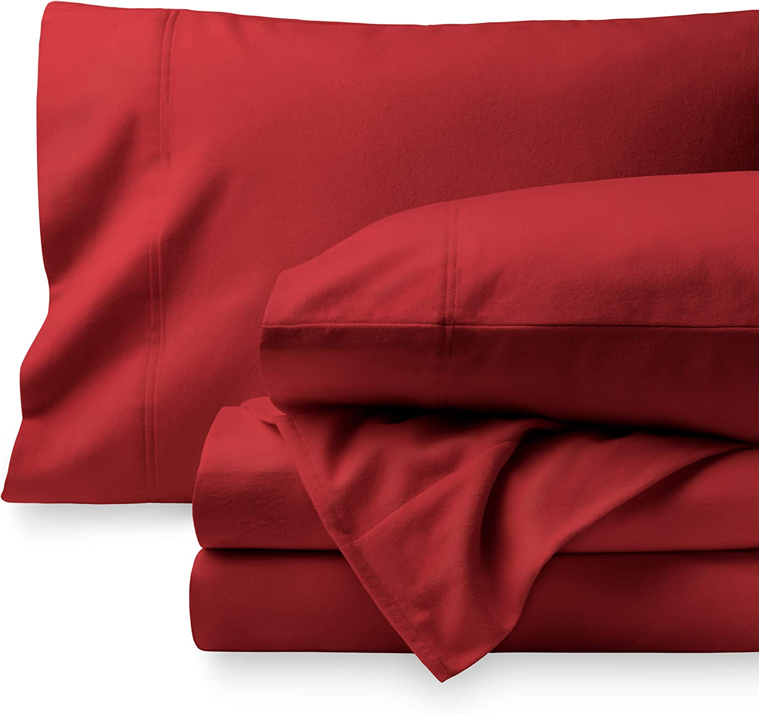 Bare Home Flannel Sheet Set 100% Cotton, Velvety Soft Heavyweight - Double Brushed Flannel - Deep Pocket (King, Red)