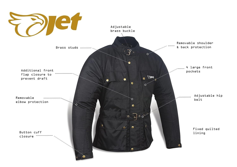 EU 48-50 M , Negro JET Chaqueta Moto Hombre Impermeable Textil con Armadura Vintage Retro Cl/ásico