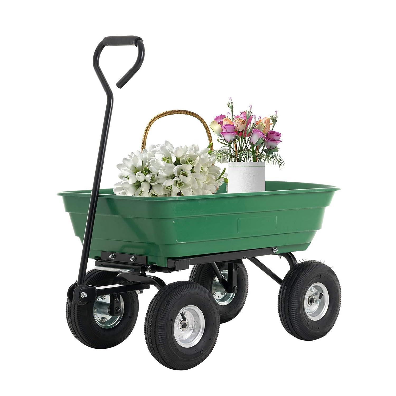 SUNCOO Garden Dump Cart Utility Yard Wagon with Steel Frame Heavy Duty 550 lbs Capacity, Green