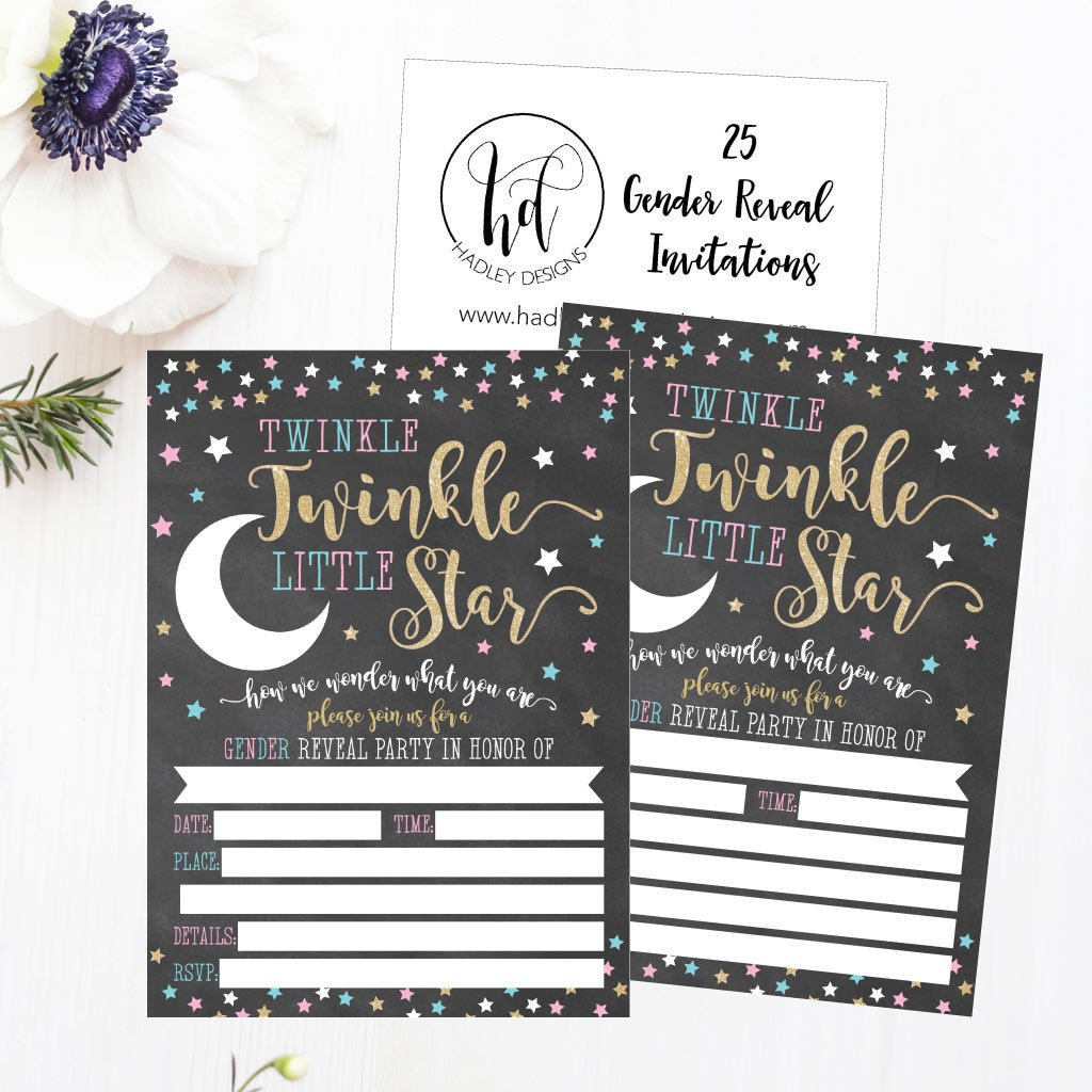25 Twinkle Little Star Gender Reveal Baby Shower Party Invitation Cards Gold and Black He or She For Gender Neutral Unisex Invites Guess If It's a Boy or Girl Sprinkle Fill In The Blank Printable Pack by Hadley Designs (Image #5)