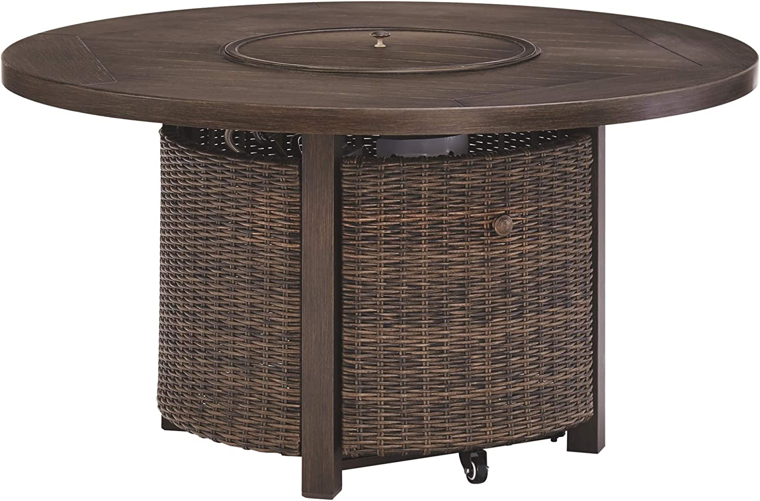 Signature Design by Ashley P750-776 Paradise Trail Round Fire Pit Table, Medium Brown
