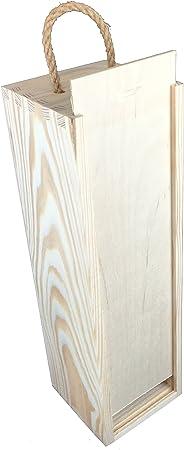Caja madera con asa para 2 botellas
