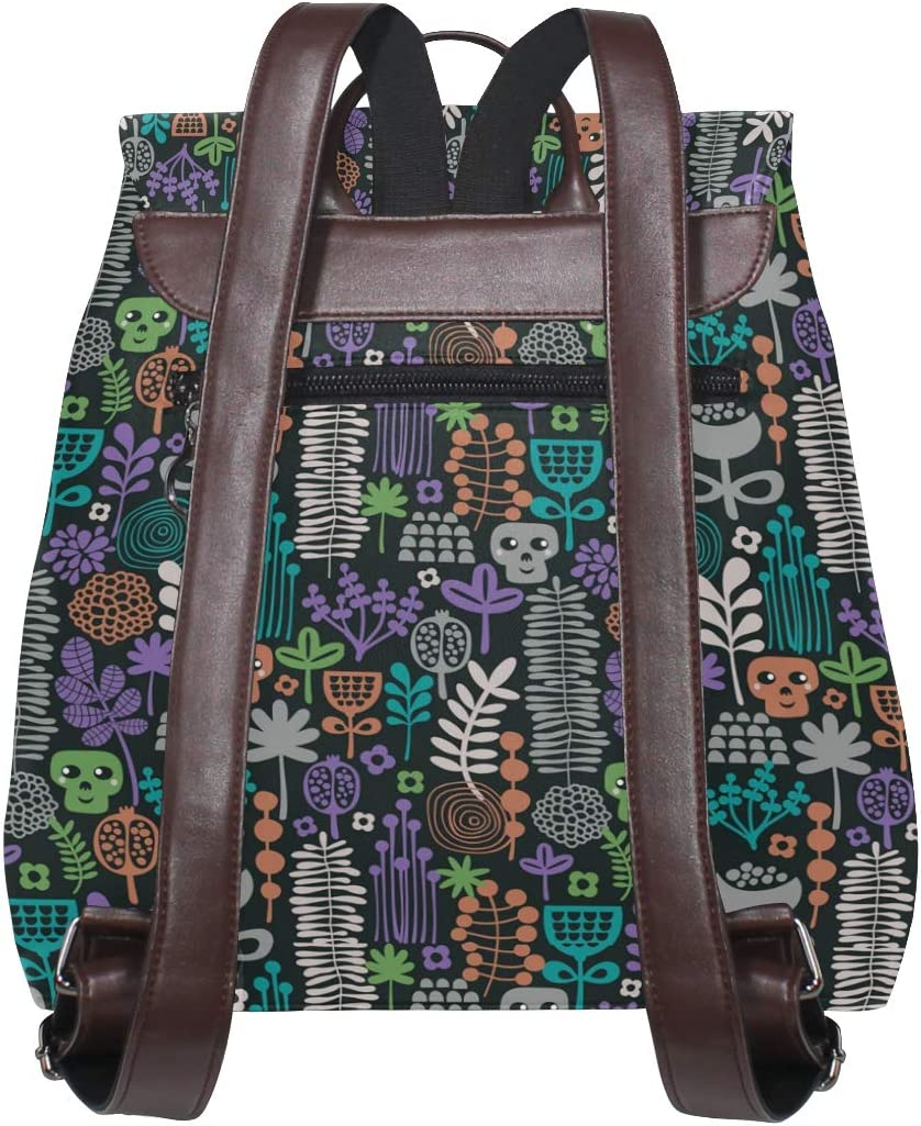 Leather Colorful Ornament With Plants And Skulls Backpack Daypack Bag Women