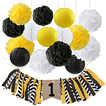 1st Birthday Decorations One Highchair Banner with Ribbon Black Yellow  White Tissue Paper Pom Poms