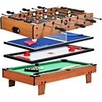 Giantex 4-in-1 Combination Game Table, with Soccer, Hockey, Billiards, Table Tennis, Perfect for Game Room, Family Night, Wood Foosball Game Table Top
