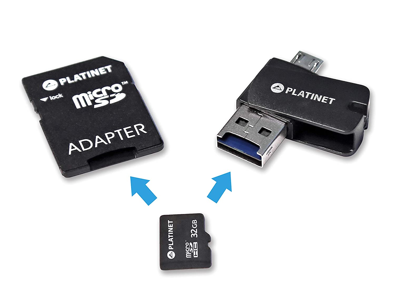 Platinet 32GB MicroSDHC + Card Reader + OTG + Adapter 32GB MicroSD ...
