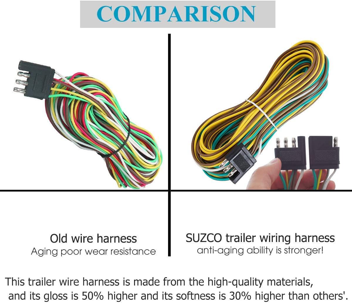 quality trailer wiring diagram amazon com suzco 25 foot 4 wire 4 flat trailer light wiring  4 wire 4 flat trailer light wiring