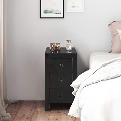 MTFY Mirrored Nightstand,3 Drawers Mirrored End Tables Bedside Table,Mirrored Accent Table,Smooth Mirror Finish