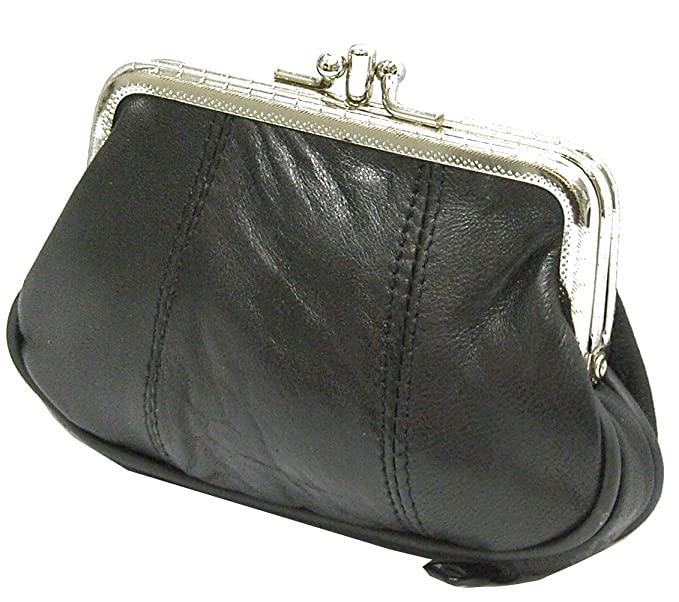Leather Coin Purse Kiss Lock Framed Mini