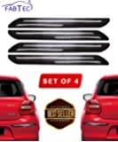 Fabtec Bumper Protector Guard Double Chrome Strip for All Car (Set of 4) Black (Double Chrome Strip)