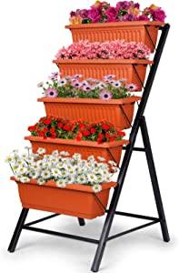 SIMBR Raised Garden Bed, 4Ft Vertical Garden Freestanding Elevated Planters with 5 Tier Planter Boxes, Indoor or Outdoor Garden Bed for Vegetables, Flowers, Fruits and Herbs