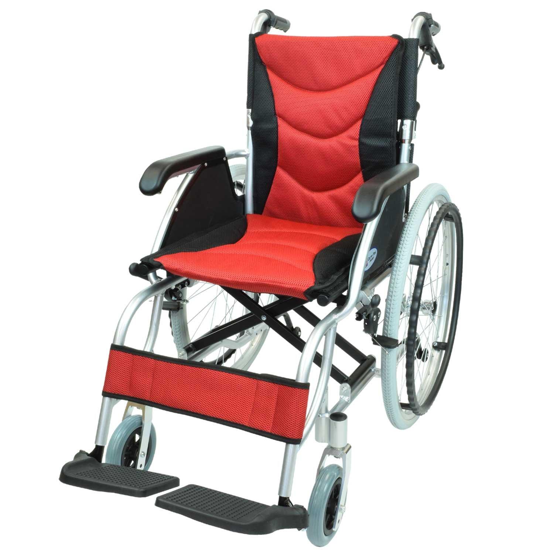 ケアテックジャパン 自走式 アルミ製 車椅子 CA-32SU ハピネスプレミアム (レッド) B01MY822JZ レッド レッド