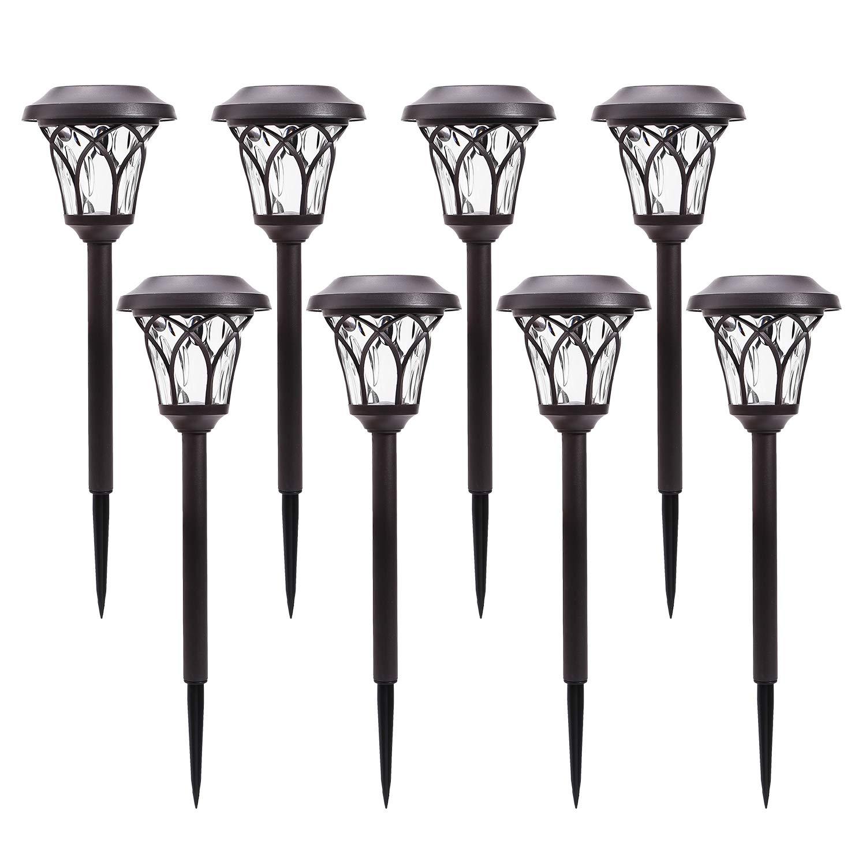 Azirier Solar Lights Outdoor Waterproof Security Lights Easy Install Garden Lights for Garden Path Walkway Light 8 Pack ...
