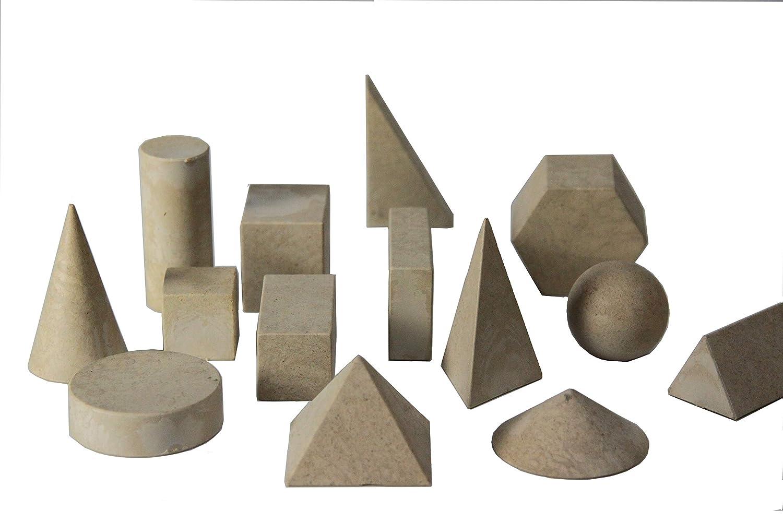 WISSNER® aktiv lernen - 14 figuras geométricas/conjunto de cuerpos geométricos - de primera a cuarta clas - RE-Wood®