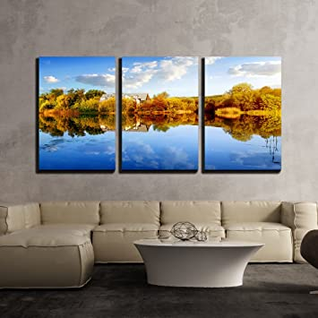 Amazoncom Wall26 3 Piece Canvas Wall Art House In Autumn