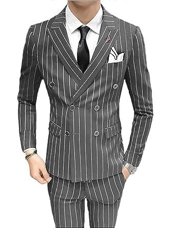 28e1cbb9e3b3 Mens Pinstripe 3 Piece Slim Fit Suit Grey Youth Wedding Blazer Jacket Tux  Vest & Trousers
