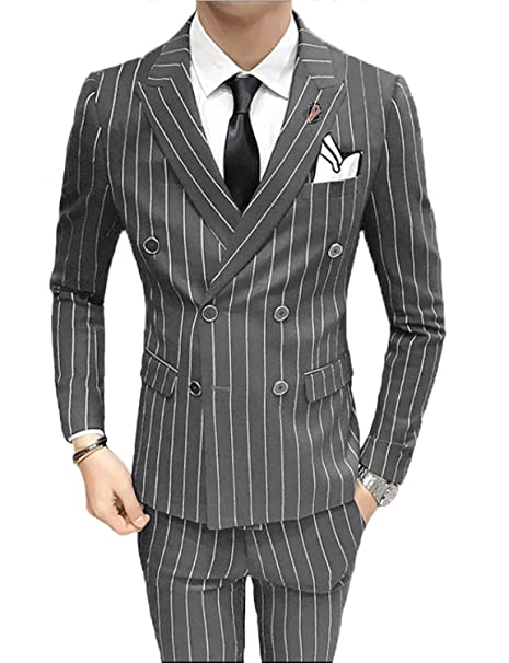 superior quality hot-selling cheap pretty cool DGMJ Mens Pinstripe Suit Double Breasted Slim Fit 3 Piece ...