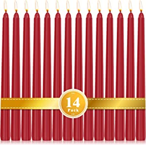 Perkisboby 14 Pack Red Taper Candles, 10 Inch Dripless, Unscented Dinner Candle 8 Hour Burn Time for Christmas, Party or Wedding Candles Decor