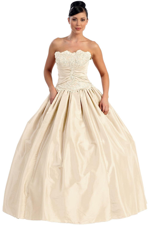Brautkleid lang Hochzeitskleid Standesamt-Kleid Ballkleid Sissi ...