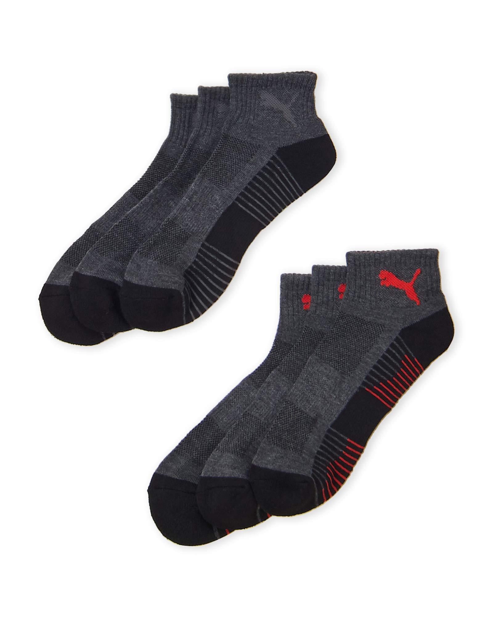 PUMA Men's PREMIUM QUALITY 6pk QUARTER Socks (BLACK RED), (12-6)