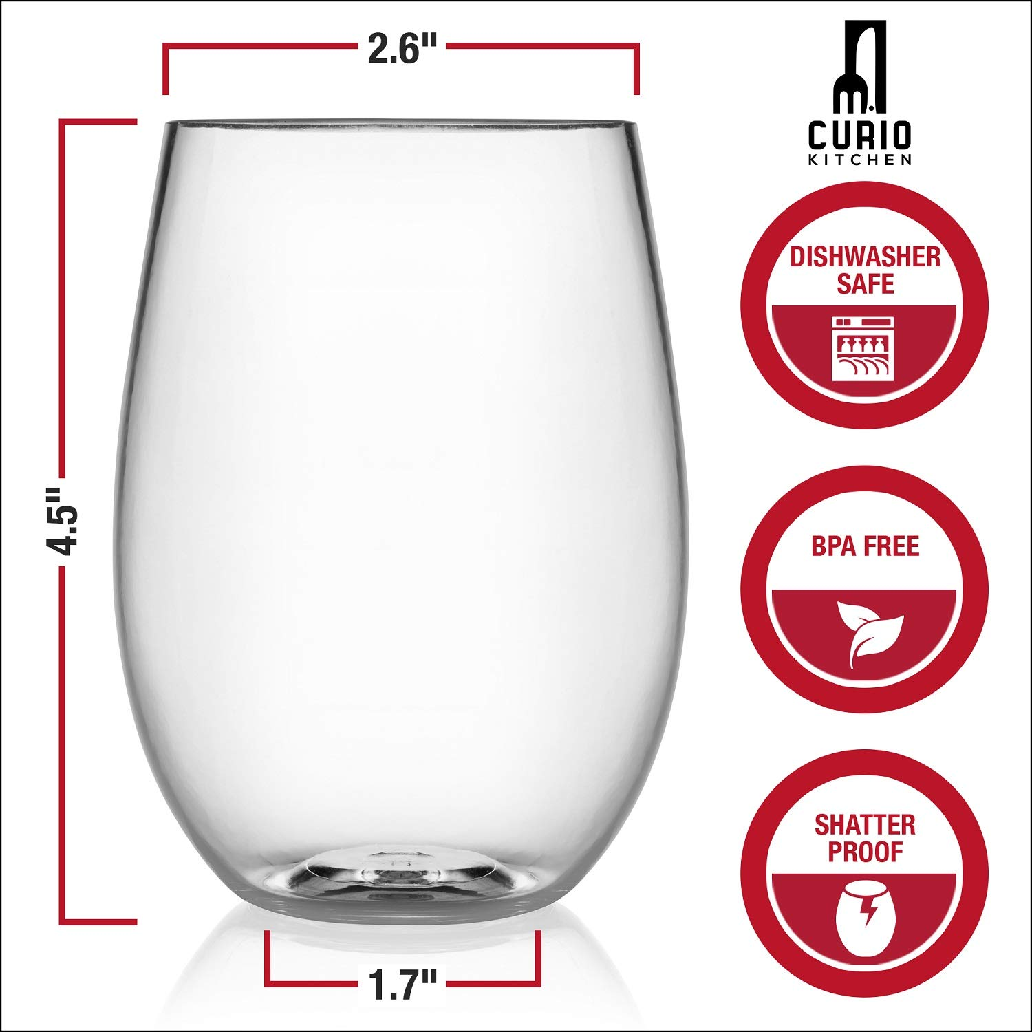 Curio Kitchen Unbreakable Stemless Wine Glasses 4 Piece Set plus Ebook Download – BPA Free Plastic, Shatterproof, Dishwasher Safe – 16 Ounce Cups